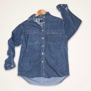 Levis Denim Metal Button Up Red Tab Shirt Sz Small